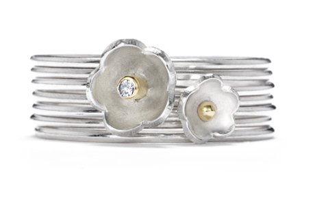 diamond daisy stack ring