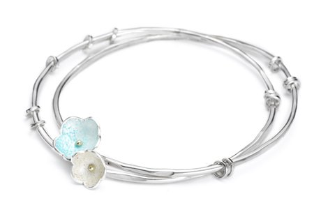 twin enamel daisy bangle